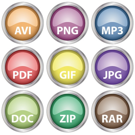 avi: Vector glossy document icons Illustration