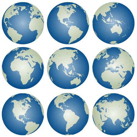 world globe map: vector globes