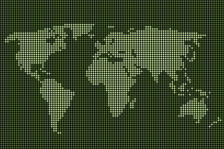 light emitting diode: Vector dotted world map