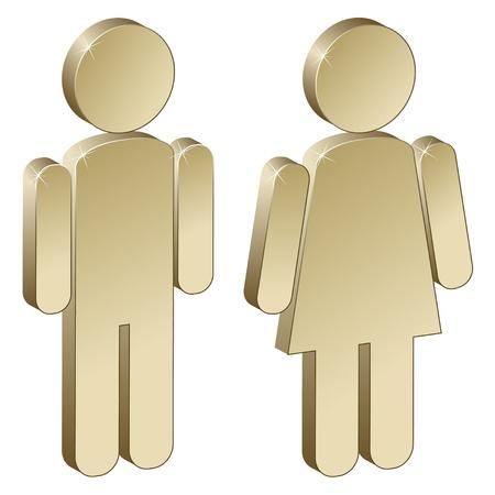 3d métalliques masculin féminin