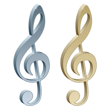 golden key: 3d metallic violin clefs