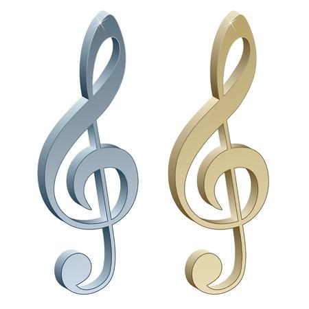 chiave di violino: 3d metallico violino clefs Vettoriali
