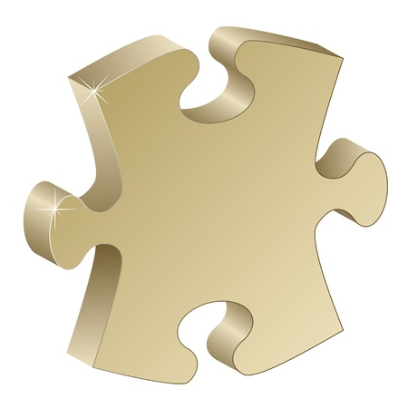 3d metallic puzzle piece Vector