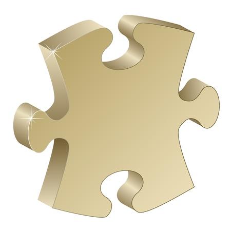 puzzle piece: Pieza de rompecabezas 3d met�lica