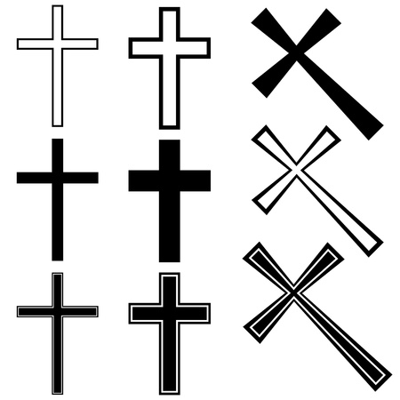 christian faith: Vector christian crosses
