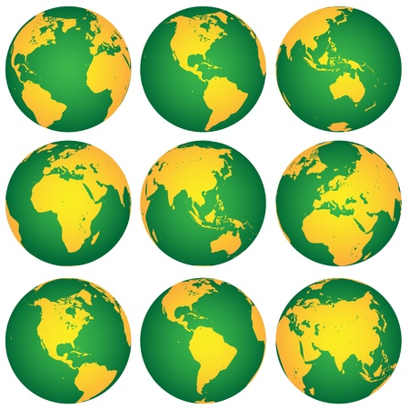 yellow earth: vector globes