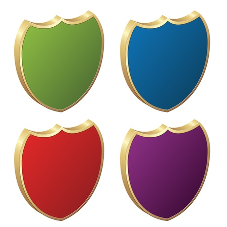3d button: vector shields - 3d badges