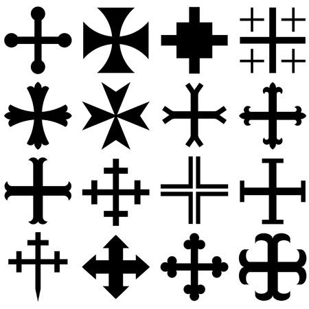 potent: Vector heraldic crosses Illustration