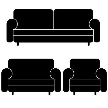 modern living room: vector sofas and armchair