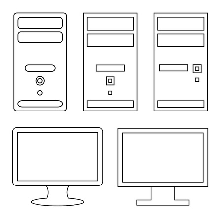 pc case: vector computers and monitors Illustration