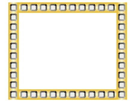 diamond stones: golden frame with diamonds Illustration