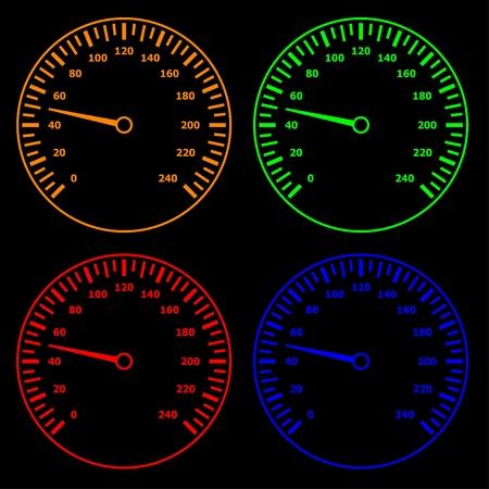 kilometre: vector speedometers Illustration