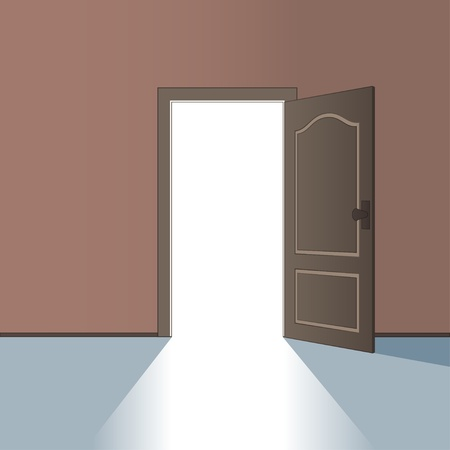dark room: vector opened door