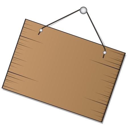 antique nails: vector wood sign hanging Illustration