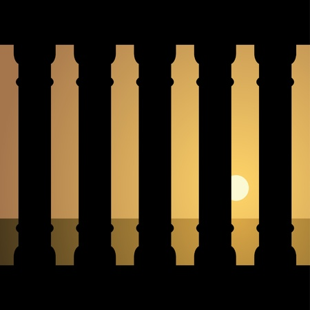 vector ancient sunset Vector
