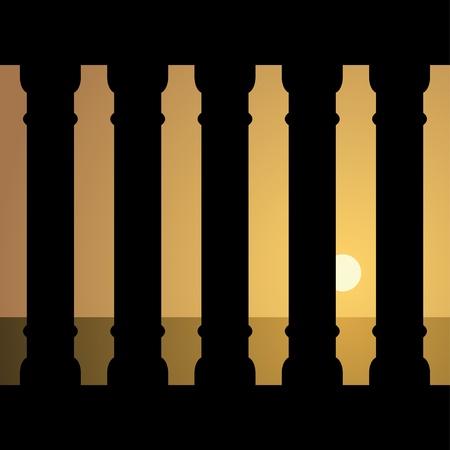 templo griego: vector de la antigua puesta de sol Vectores