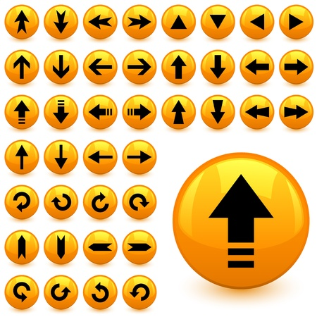 turn yellow: vector arrow buttons