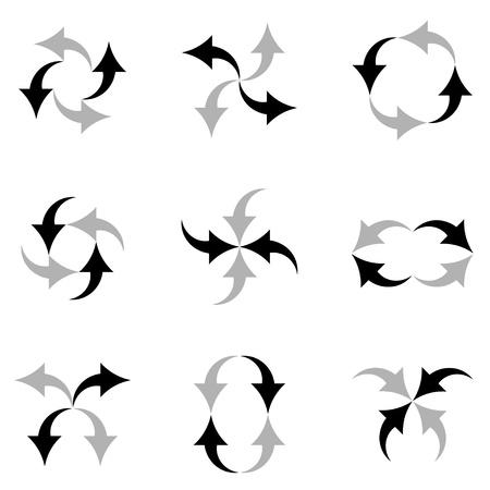 circular silhouette: vector arrows composition Illustration