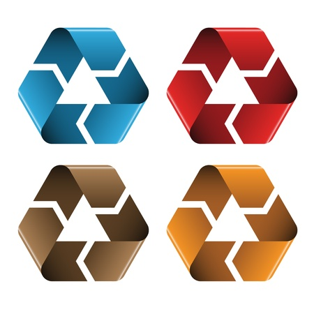 organic waste: vector colored recycle icons