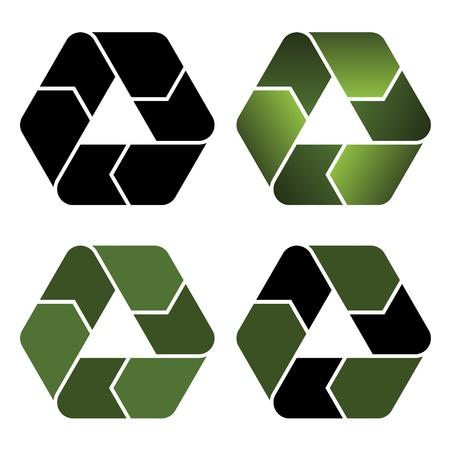 residuos organicos: vectores iconos de reciclaje Vectores