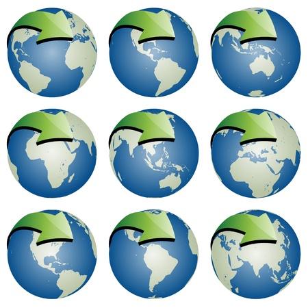 vector globes with arrows Stock Vector - 11487365