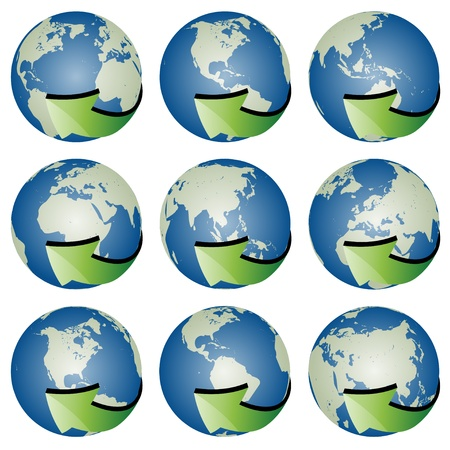vector globes with arrows Stock Vector - 11487367