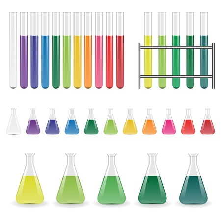 laboratory glass: vector laboratory flasks and test tubes