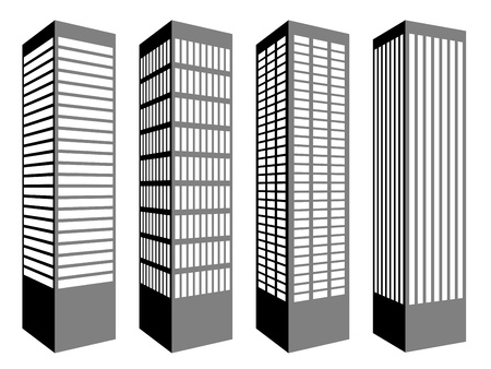 black block: s�mbolos vectoriales rascacielos