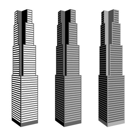 office window view: vector skyscraper symbols