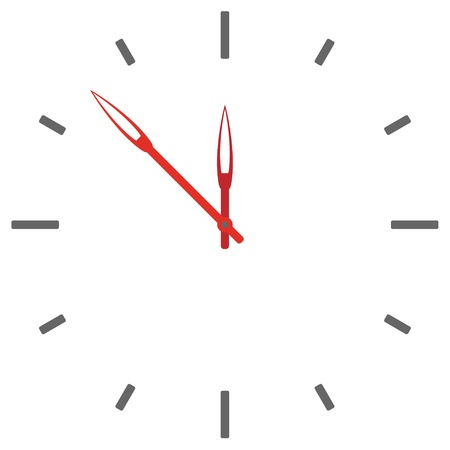 white pointer: vector clock face - easy change time Illustration