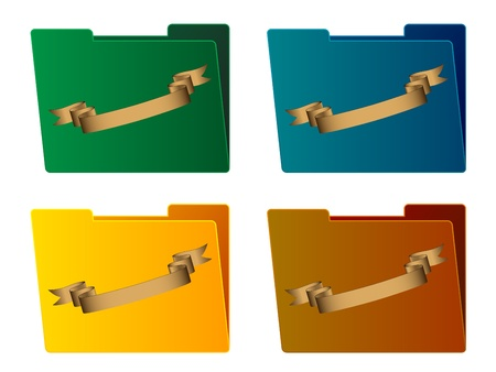 vector folders with ribbon Stock Vector - 11487372