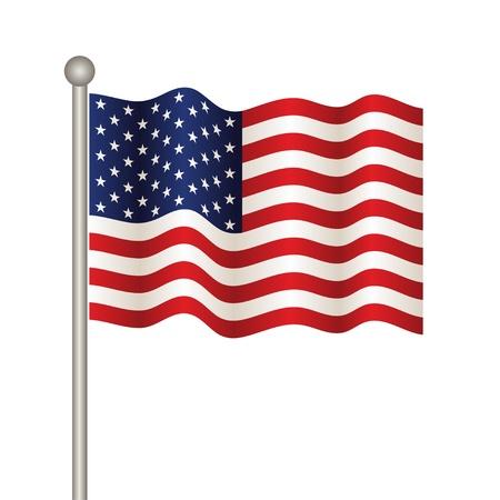 флагшток: векторный флаг США Иллюстрация