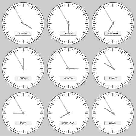 timezone: vector clock faces - timezones