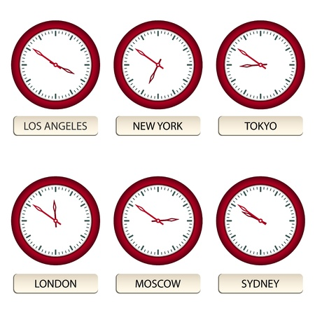 vector clock faces - timezones Vector