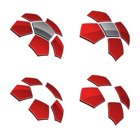 pentagon: vector 3d shiny elements Illustration