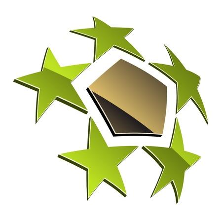 pentagon: vector 3d shiny element