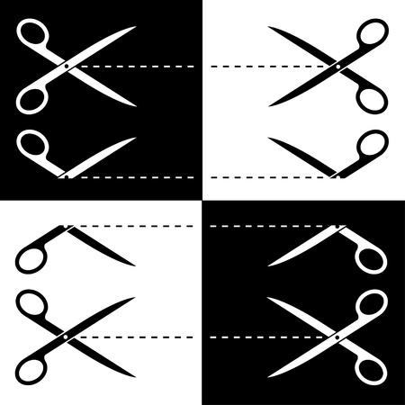 Vector scissors cut lines Vector