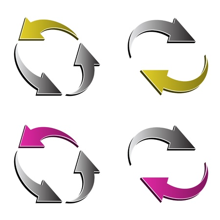 turn yellow: vector 3d reload arrows