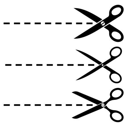 Nożyczki wektorowe cięte linie Ilustracje wektorowe