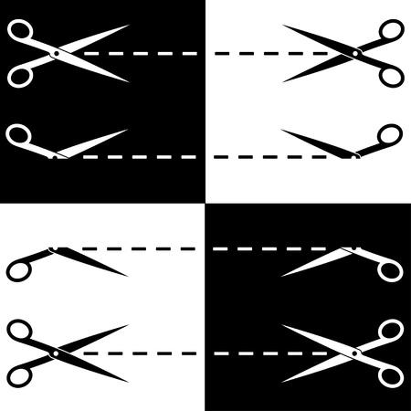 ciach: Nożyczki wektorowe cięte linie Ilustracja