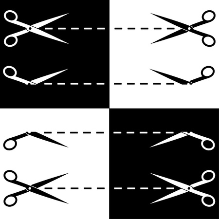 Vector scissors cut lines Vector