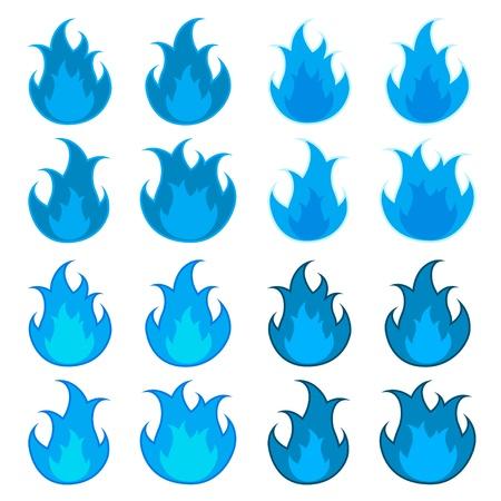 vector blue fire flames Vector