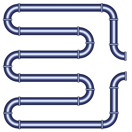 loodgieterswerk: vector metalen pijp Stock Illustratie