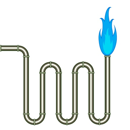 gas flame: vector burning pipe Illustration