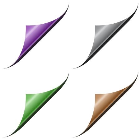 Vector pagina hoeken met metalen achterkant Vector Illustratie