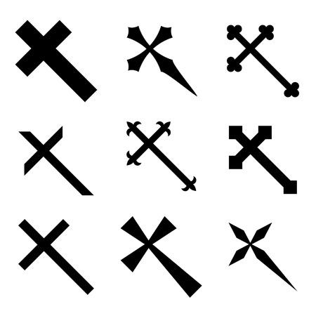christmas tattoo: Vector christian crosses