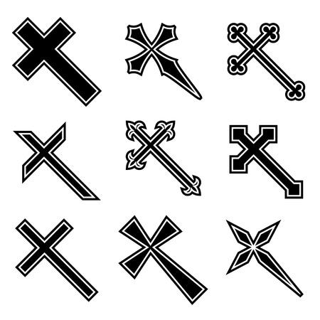 cross tattoo symbol: Vector christian crosses