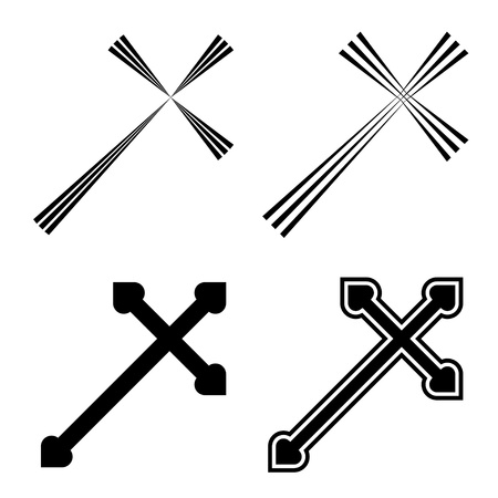 jesus cross: Vector christian crosses