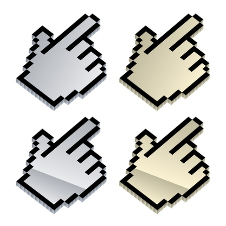 vector 3d metallic cursors Vector