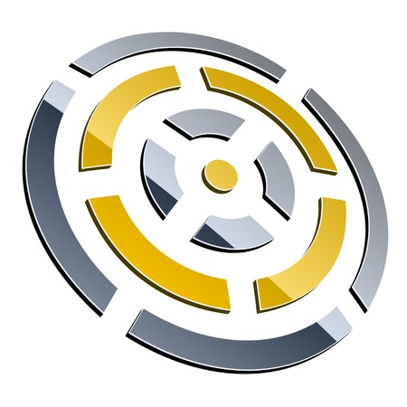turn yellow: vector 3d shiny element